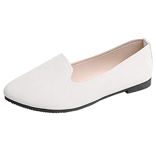 ✔ Hypothesis_X ☎ Women Girls Multi-Color Shallow Mouth Lazy Shoes Casual Shoes Flat Shoes Work Shoes Single Shoes White