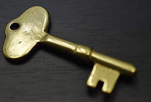 キーホルダー カスタムパーツ 日本製 ブラス製 アンティークキー デザイン モチーフ タイプA 真鍮 無垢 Brass ブラス
