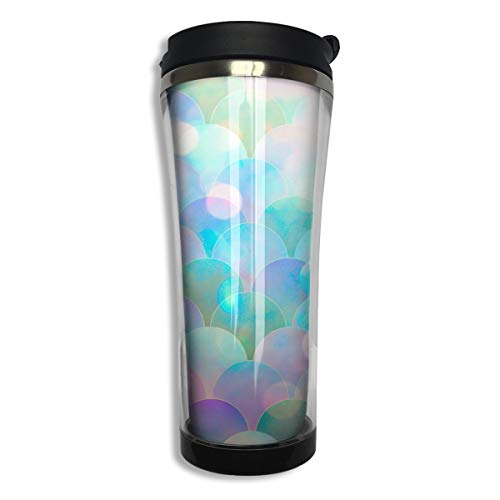 - COLOMAKE Tumbler Travel Mug Sparking Mermaid Fish Scales Gift Food Grade ABS Mug Insulated Both Cold & Hot Beverage Cup for Home Outdoor with Lid 14 Oz (420 Ml)
