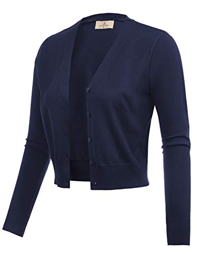 GRACE KARIN Long Sleeve Cropped Short Bolero Shrug Sweater Navy Blue Size XL CL2000-3 ()
