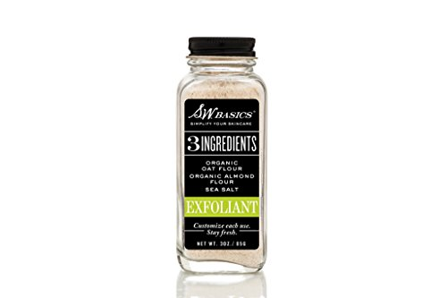 S.W. Basics Exfoliant Face Scrub, Skin Smoothing Exfoliator, Made with Sea Salt, Oat, and Almond Flours, Organic and Cruelty Free, 3.0 oz