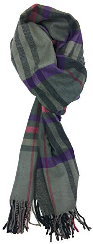 Plum Feathers Plaid Check and Solid Cashmere Feel Winter Scarf (Grey-Purple Plaid)