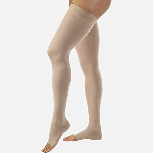 JOBST Relief Thigh High 15-20 mmHg Compression Stockings, Open Toe with Silicone Dot Band, X-Large, Beige