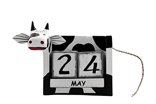 G6 COLLECTION Wooden Cow Perpetual Calendar Desktop Handmade Unique Removable Blocks Decorative Accessory Desk Accessories Handcrafted Hand Carved Decoration Forever Never Ending Decor Cow Calendar