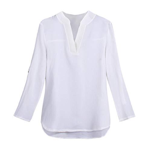 Neck De Longues Haut Shirt Mousseline Solide Pull Tops Blouse en V Manches Soie Casual Femmes Blanc axT4vE