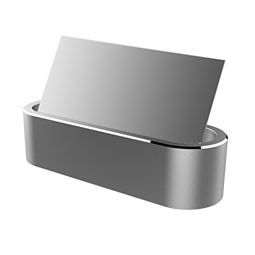 Aluminum Business Card Holder Display Office Business Card Stand Name Card Display Organizer for Desk (Silver)