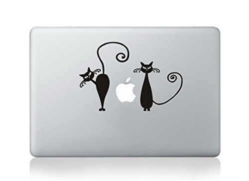 Black Cats Dual Two Cute Unique Rare Skin Decal Vinyl Apple Macbook Pro Air