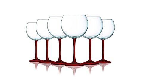 Red Balloon Wine Glass with Beautiful Fun Colored Stems - 20 oz. set of 6- Additional Vibrant Colors Available
