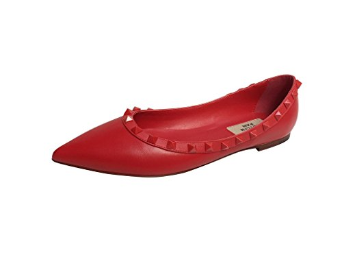 Leather Matte Red Red Flats Trim Red Toe Studded Pointed Kaitlyn Ballerina Pan Studs HPnwUqX