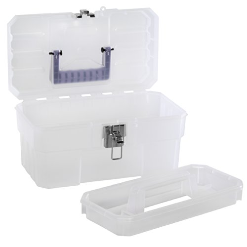 Akro-Mils 09514CFT 14-Inch Plastic Art Supply Craft Storage Tool Box, Semi-Clear (Box Tool Durable)