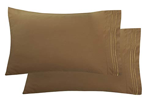 - Elegant Comfort Luxury Ultra-Soft 2-Piece Pillowcase Set 1500 Thread Count Egyptian Quality Microfiber Double Brushed-100% Hypoallergenic-Wrinkle Resistant, Standard/Queen Size, Bronze