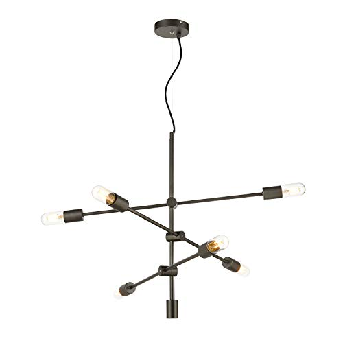 Light Society LS-C272-GM Element 6 Chandelier in Gunmetal with Exposed Bulbs, Mid Century Modern Retro Style Lighting ()