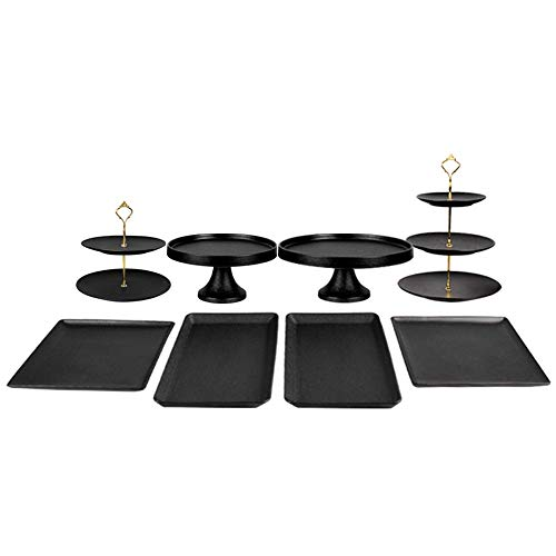 JU FU Cake stand Golden Crown Cake Stand Multi-layer Dessert Dessert Plate Hotel Banquet Table Decoration Props Cake Display Set, 3 Sets Available Dessert rack (Size : 8-piece set) ()