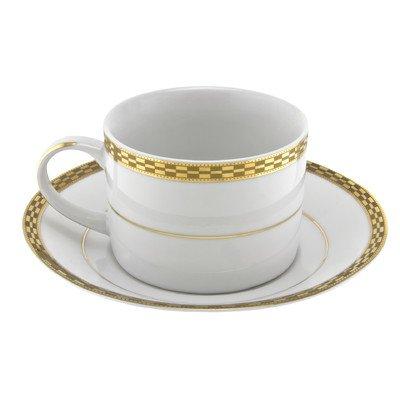 Athens Gold Rim 8 oz. Teacup and Saucer [Set of 6]