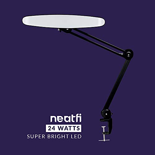 Neatfi XL 2,200 Lumens LED Task Lamp with Clamp, 24W Super Bright Desk Lamp, 117 Pcs SMD LED, 20 Inches Wide Lamp, 4 Level Brightness, Dimmable, Eye-Caring LED Lamp, Table Clamp LED Light (Black)