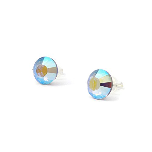 Shinny Rainbow Light Blue 9mm Swarovski stud earrings for girls and woman - handmade with love - earrings changing colour under light - one (Melissa Joy Manning Drop Necklace)