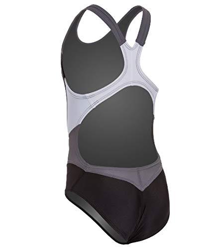 (Nike Women's Victory Color Block Power Back Tank Swimsuit (30, Black))