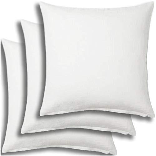 3 Inserts Euro - Set of 3 - Pillow Insert 26x26 Decorative Throw Pillow Inserts - Euro Sham Stuffer for Sofa Bed Couch Square White Form 3 Pack - Hypoallergenic Machine Washable and Dry Polyester - Made in USA