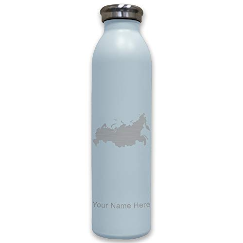Lasergram Sports Water Bottle, Country Silhouette Russia, Personalized Engraving Included (Light Blue) ()