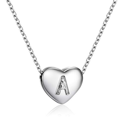 Dainty Heart Initial Necklace S925 Sterling Silver Letters A Alphabet Pendant Necklace Fine Jewelry