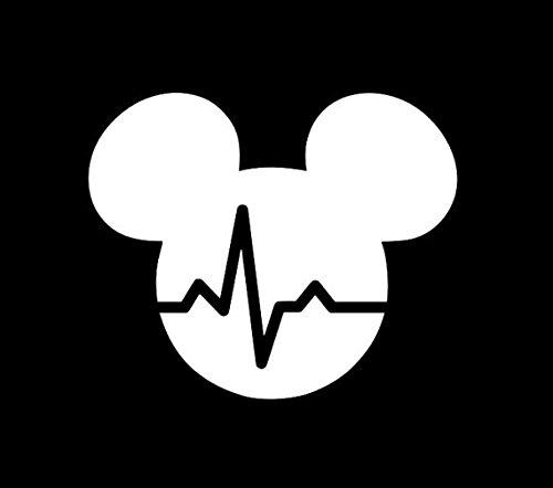 Mickey Mouse Heartbeat Decal Vinyl Sticker|Cars Trucks Vans Walls Laptop|WHITE|5.5 (Animated Heart Beat)