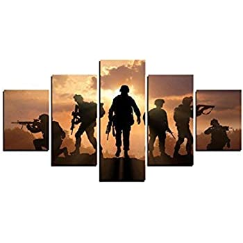 MailingArt Modern Home and Office Wall Decor 5 Panels Canvas Prints Six Military Soldier Silhouettes Photos to Prints Painting on Canvas (8x14inchx2/8x18inchx2/8x21inchx1)