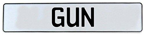 Vintage Parts 643616 Wall Art (White Stamped Aluminum Street Sign Mancave Gun)