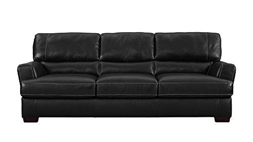 Natuzzi Editions Cetara Collection Black Leather Stationary Sofa ()