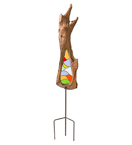(Wind & Weather Natural Teak and Stained Glass Decorative Garden Stake - Approx. 15 W x 50 H x 5 D - Sea)