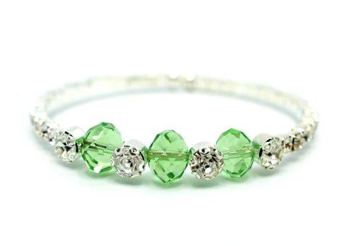 [Green Swarovski Cystal and Rhinestone Silver Stretch Tennis Cuff Bracelet] (Las Vegas Showgirl Costume)