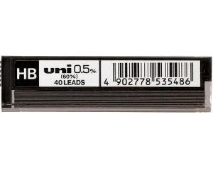 Uni 0.5mm Replacement Mechanical Pencil Refill Leads UL-4005 Grade HB Tube Of 40 leads