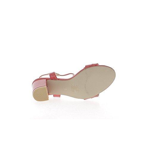 Koralle rote Sandalen lackiert Dick 7,5 cm mit goldener Schnalle heels