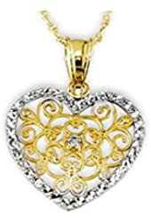 14k White Yellow Gold CZ Vintage Style Heart Necklace