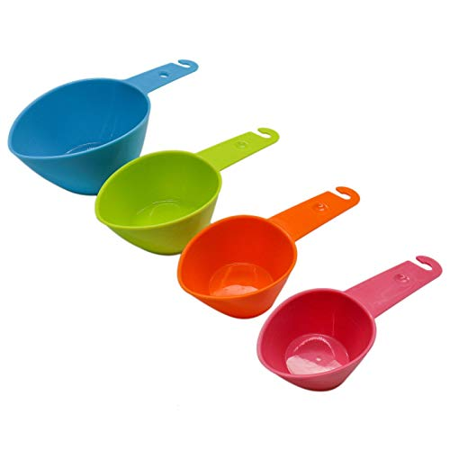 WSSROGY Pet Food Scoop Set of 4 Plastic Measuring Cups Food Spoon for Dog Cat and Bird Food