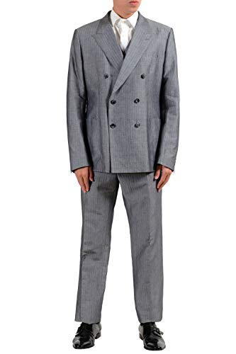 Dolce & Gabbana Men's Linen Gray Striped Three Piece Suit US 44 IT 54 ()