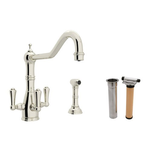(Rohl U.KIT1576LS-PN-2 Perrin and Rowe Triple Handle Filtering Kitchen Faucet, Polished Nickel )
