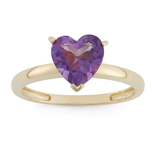 Celebration Moments 10K Gold Created Amethyst 8mm Heart Shape Ring - Size 8