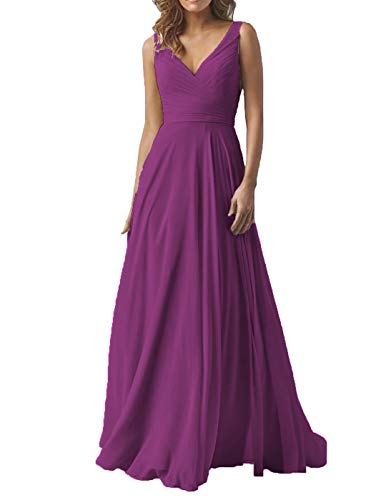 (Women's Double V Neck Wedding Party Dresses Long A-Line Chiffon Bridesmaid Evening Formal Dress Raspberry)