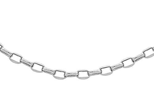 """100Coupe Diamant Or Blanc 9Carats Chaîne Belcher ovale 41cm/16"""""""