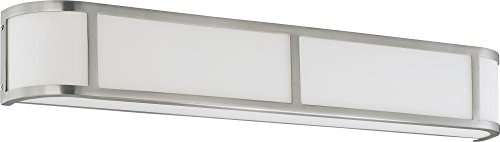 Nuvo 60/2875 Four Light Wall with Satin White Glass, Brushed Nickel
