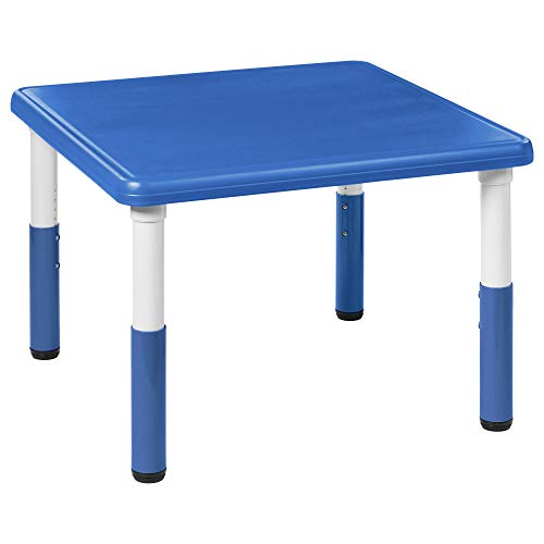 """ECR4Kids 32"""" Square Resin Activity Table - Indoor/Outdoor Kids Table for Classrooms, Daycares, Playgrounds, Blue"""