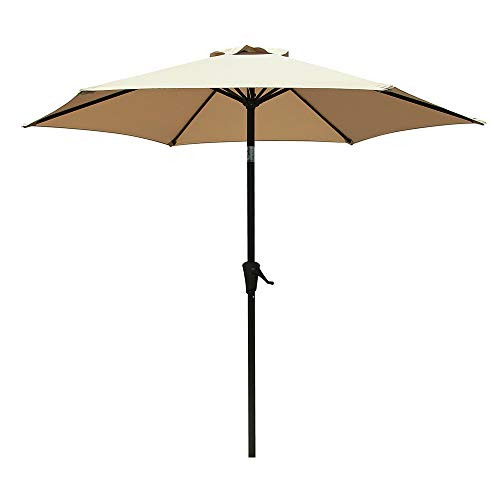 COBANA 7.5 ft Patio Umbrella Outdoor Table Market Umbrella with Push Button Tilt and Crank, 6 Ribs, Beige