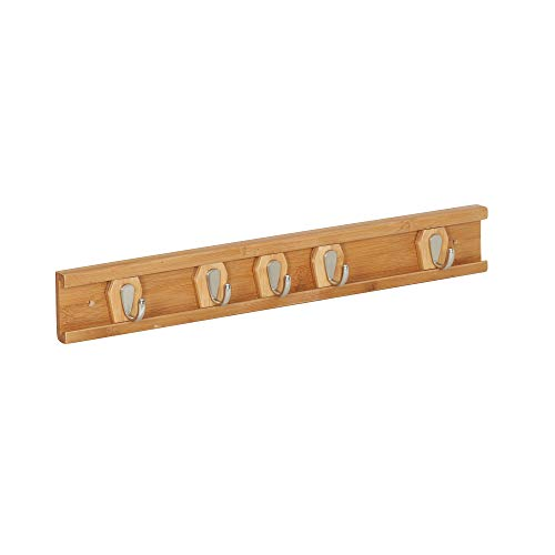 Household Essentials Bamboo Sliding 5 Wall Hooks | Natural, Brown ()