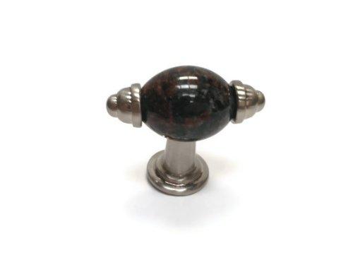 (Granite Satin Nickel T-Handle with Solid Real Granite - Tan Brown)