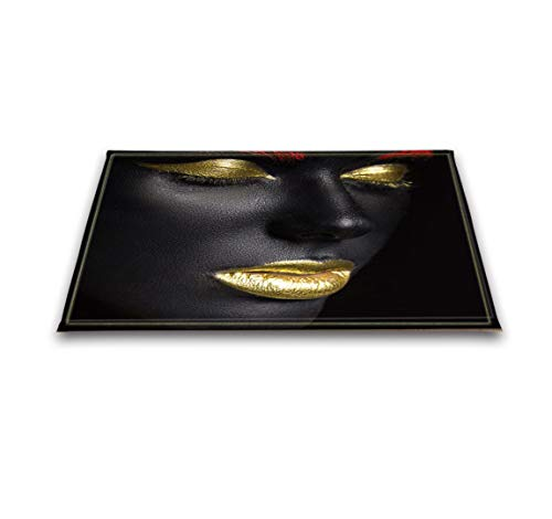 LB African Woman Rugs, Custom 3D Digital Printing Sexy Black Girl with Gold Lip African American Floor Mat 16 x 24 Inches Non-Slip Bath -