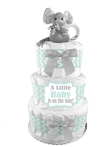 Elephant Diaper Cake - Welcome Little One - Baby Shower Gift - Mint and Gray -