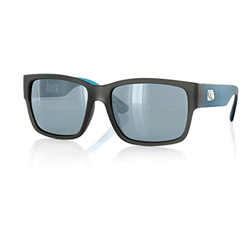 Carve Hack Polarised Sunglasses in Matte Grey and Cyan - 100% UV - Cyan Sunglasses
