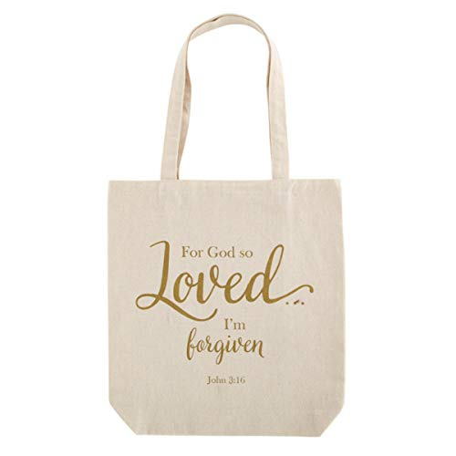 Religious For God So Loved Tote Bag with Inside Pocket and Handles, 14 Inch