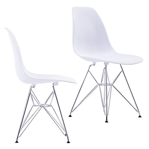 Porthos Home LVC002B WHT Midcentury Modern Eames Style DSR Dining Chairs with Chrome Finish Legs, Easy Assembly, Set of 2, White, One Size (Finish Wht Chrome)