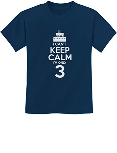 Gift for 3 Year Old Birthday Cake - I Can't Keep Calm I'm Only 3 Kids T-Shirt Large Navy